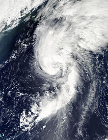 A satellite image depicting a Category 1 hurricane moving towards Newfoundland.