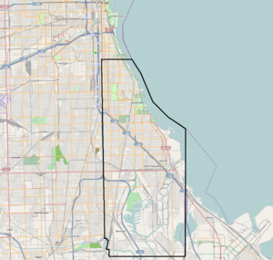 Hyde Park Township, Cook County, Illinois - The original boundaries of Hyde Park Township, imposed on a current map of Chicago