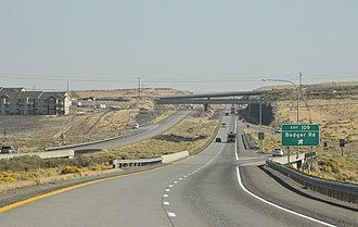 Interstate 82 - Looking eastbound on I-82 at the Badger Road interchange, located in the Horse Heaven Hills south of Kennewick
