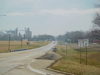 Illinois Route 1 - IL 1 and IL 17 at the concurrency junction east of Grant Park