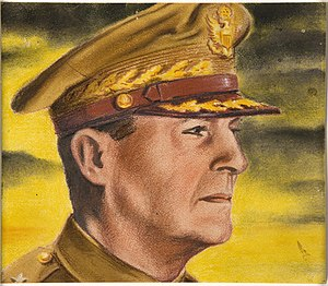 Douglas MacArthur's escape from the Philippines - Image: INF3 76 pt 4 General Mac Arthur Artist Tim