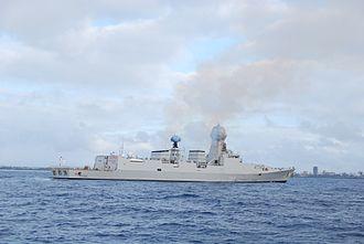 Kolkata-class destroyer - Image: INS Kolkata entering Mombasa, Kenya