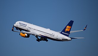 Portland International Airport - An Icelandair aircraft departs for Reykjavik, Iceland