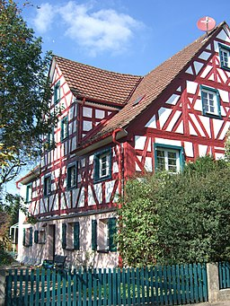 Timbered house in Igensdorf in Bavaria, Germany.