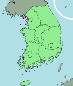 Map o Sooth Korea wi Incheon heichlichtit