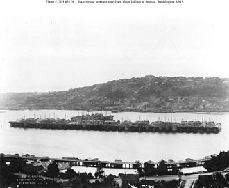 United States Shipping Board Merchant Fleet Corporation - Image: Incomplete merchant ships laid up Seattle