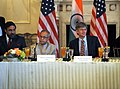 Indian Commerce Minister Sharma, Indian Finance Minister Mukherjee, and Deputy Secretary Steinberg Listen to Secretary Clinton's Opening Remarks (4731032818).jpg