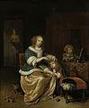 Interieur met een moeder die het haar van haar kind kamt, bekend als 'Moederzorg' Rijksmuseum SK-A-293.jpeg