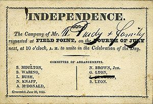 Independence Day (United States) - An 1825 invitation to an Independence Day celebration