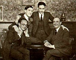 Isadore Bernstein - Isadore Bernstein, seated at left, and Sam Van Ronkle, Louis Loeb, Irving Thalberg, new 1920 Universal Pictures executives