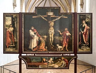 Affective piety - Isenheim Altarpiece, Niclaus of Haguenau (for the sculpted portion) and Grünewald (for the painted panels), 1512–1516 Musée Unterlinden, Colmar.