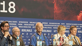 Bryan Cranston - Bill Murray, Greta Gerwig, and Cranston at the Isle of Dogs press conference at Berlinale 2018