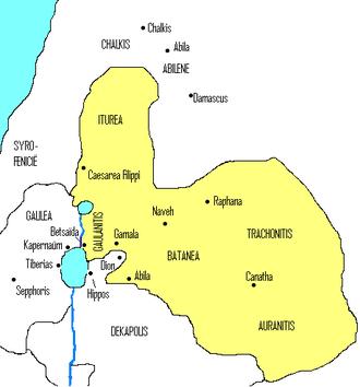 Batanaea - Iturea, Gaulanitis (Golan), Trachonitis (Lajat), Auranitis (Hauran), and Batanaea in the first century CE.