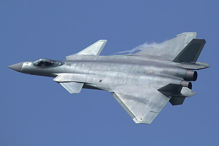 A PLA air force Chengdu J-20 stealth fighter aircraft J-20 at Airshow China 2016.jpg