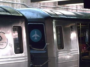 JFK Express - The JFK Express bullet on an R68 serving the Franklin Avenue Shuttle
