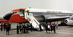 Mexico City International Airport - President and Mrs. Kennedy debark Air Force One, June 29, 1962