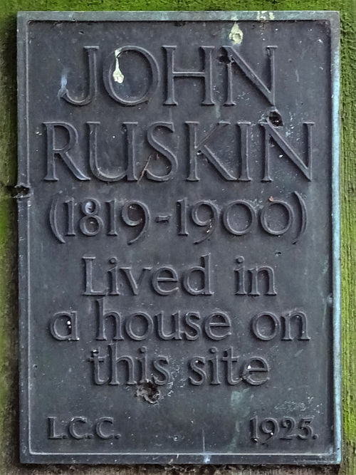 John ruskin (1819 1900) lived in a house on this site
