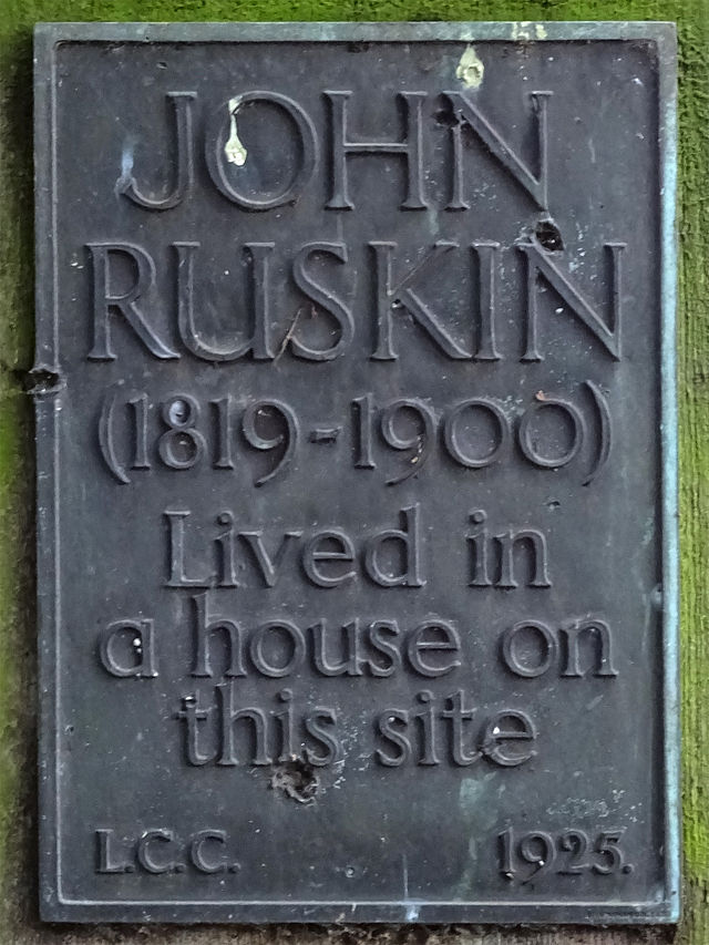 John Ruskin bronze plaque - John Ruskin 1819-1900 man of letters lived in a house on this site