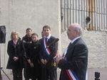 Cérémonie du souvenir à Aubervilliers en 2010, en présence du maire Jacques Salvator (au micro) et du député Daniel Goldberg (au centre).