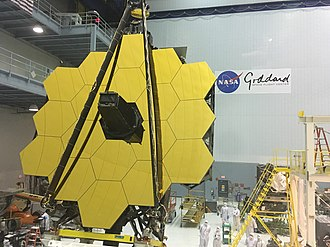 Main mirror assembled at Goddard Space Flight Center, May 2016. James Webb Space Telescope Revealed (26832090085).jpg