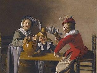 Three Children drinking and Making Mischief