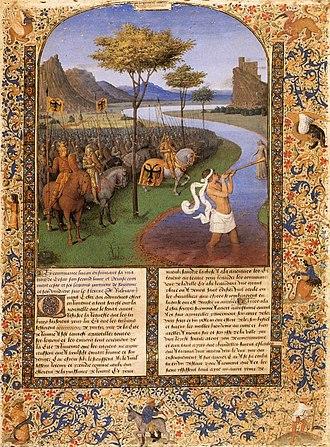 "Histoire ancienne jusqu'à César - Jean Fouquet, ""Caesar Crossing the Rubicon"", 15th-century MS of Histoire Ancienne jusqu'á César and Faits des Romains in the Bibliothèque nationale de France."