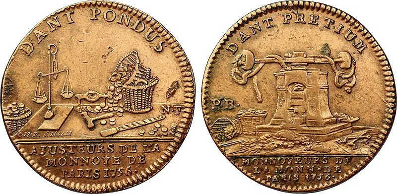 Coin of Corporation, Monnaie de Paris, 1756. Avers Description: Libra, baskets filled with coins and tools for making coins.