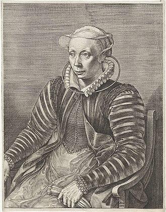 Volcxken Diericx - Portrait of Volcxken Diericx, wife of Hieronymus Cock, by Jan Wierix