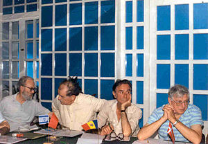 World Federation for Chess Composition - 1990 PCCC meeting (from left to right): John Roycroft, Gia Nadareishvili, Virgil Nestorescu and Jan Mortensen