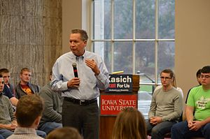 John Kasich presidential campaign, 2016 - Kasich speaking at Iowa State University in November 2015