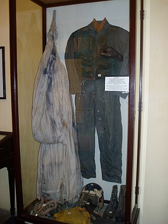 "Cultural and political image of John McCain - McCain's flight suit and parachute, on display in the North Vietnamese museum at the site of the ""Hanoi Hilton"" Hoa Lo Prison. McCain's experiences as a POW have formed the basis for some of his political image."