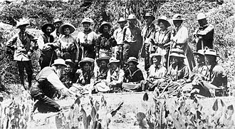 Muir Woods National Monument - John Muir (lower left) teaching a group at Muir Woods in the early 1900s