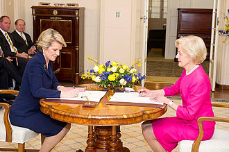 Julie Bishop - Bishop being sworn in as Foreign Minister by Quentin Bryce at Government House
