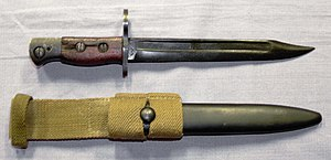 "Bayonet - Bayonet with fuller, along with its scabbard, for the Lee–Enfield Rifle No. 5 Mk I ""Jungle Carbine"" rifle"