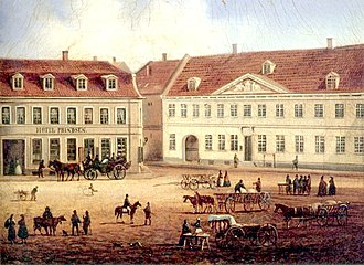 Køge Town Hall - Køge Town Hall seen on a painting from c. 1850