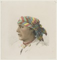 KITLV - 36B239 - Borret, Arnoldus - Hindustani woman with headscarf and necklace - Pencil water colour - Circa 1880.tif