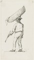 KITLV - 36B276 - Borret, Arnoldus - Man with a big basket on his head - Pen and ink - Circa 1880.tif