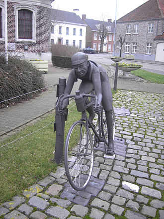 Tour of Flanders - Statue in honour of Briek Schotte in Kanegem. Schotte won the race twice and holds a record 20 participations between 1940 and 1959.