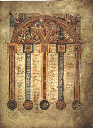 Eusebian Canons - Canon table from the Book of Kells; the tables in the book were effectively unusable, as they were over-condensed and the corresponding sections were not marked in the main text. This is either because it is unfinished, or because it was a display book not meant for study.