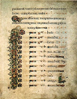 Book of Kells - Luke's genealogy of Jesus (extends over three pages)