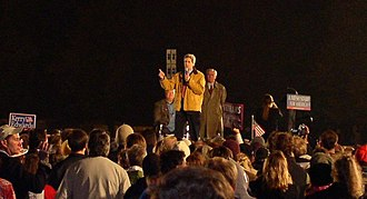 John Kerry presidential campaign, 2004 - John Kerry, Walter Mondale and Max Cleland in Minneapolis, October 21, 2004