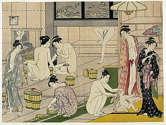 Ukiyo - Onnayu (Ladies' Bath), a colored woodcut ukiyo-e by Torii Kiyonaga (1752–1815) depicting a male sansuke (upper left corner) attending on women at a public bathhouse