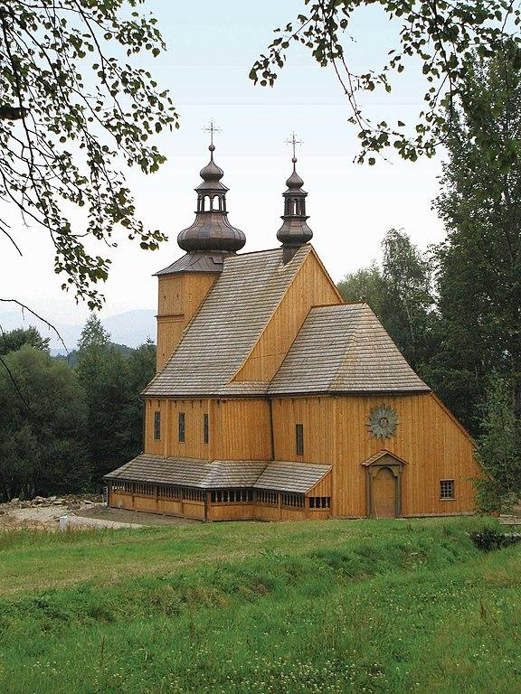 Eglise en bois de Łososina Dolna dans le parc ethnographique. Photo de mik Krakow.