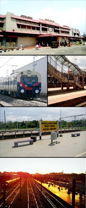 Kollam Junction railway station - From Top: Entrance of Kollam Junction Railway Station, A MEMU train at Kollam railway station, Foot over bridge, Name board of the station, Kollam MEMU Shed building