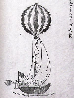France–Japan relations (19th century) - Drawing of a Western hot air balloon, from the 1787 Sayings of the Dutch.