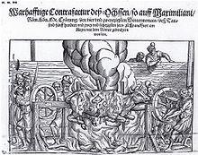 Darstellung des Ochsen der anlässlich der Krönung Kaiser Maximillians II. am 30.November 1562 zu Frankfurt a. Main gebraten wurde (Quelle: Wikimedia)