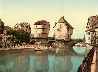 Nahe (wine region) - The Nahe river in Bad Kreuznach in 1900.