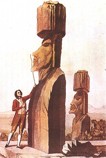 Jacob Roggeveen analyzing a Moai statue, 18th-century engraving. L'ecriture, p. 127.jpg