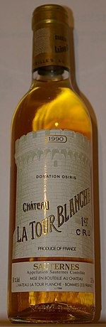 A bottle of Château La Tour Blanche 1990