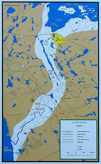 Mattawa River - Map of the La Vase Portages.